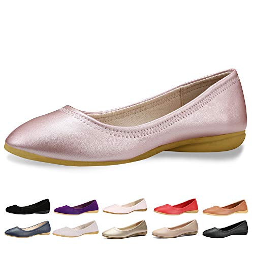 CINAK Women Flats Shoes - Slip-on Ballet Comfort Walking Shoes for Women (5-5.5 B(M) US/ CN37 / 9.2'', Pink)