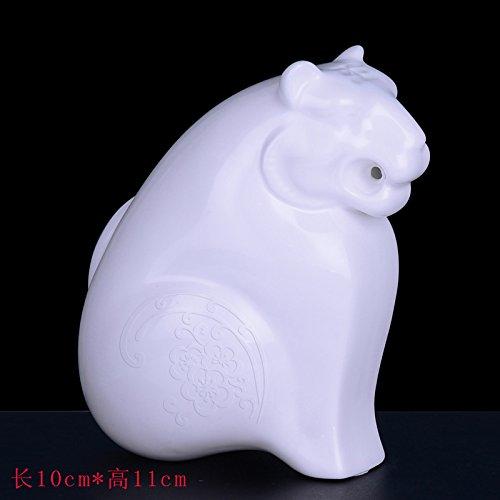 White Tiger  Embossed Version XOYOYO Twelve Zodiac Animal Ornaments Ceramic Craft Gift Home Furnishing Office Desktop Accessories,White Tiger  Embossed Version