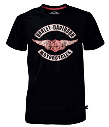 Harley Davidson Wings - Harley-Davidson Mens Black Label Genuine Wings B&S T-Shirt, Black 30291521 (3XL)