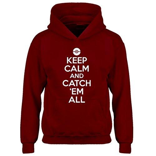 Indica Plateau Kids Hoodie Keep Calm and Catch em All! Medium Red Hoodie