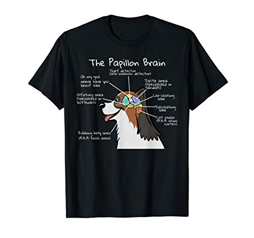 Funny Papillon Brain Anatomy T-Shirt Dog Tee