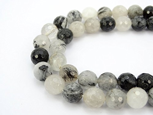 Faceted Rutilated Quartz Strand - jennysun2010 Natural Rutilated Quartz Gemstone 8mm Faceted Round Loose 50pcs Beads 1 Strand for Bracelet Necklace Earrings Jewelry Making Crafts Design Healing