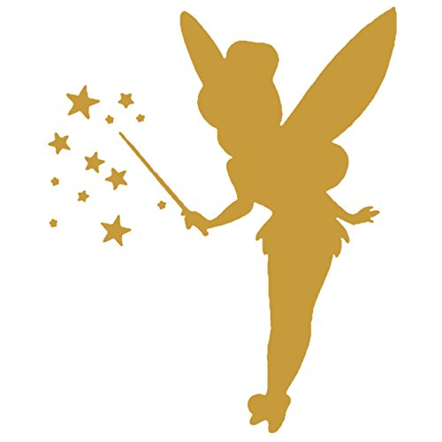 Tinkerbell LOGO ICON SYMBOL (GOLD) (set of 2) - silhouette stencil artwork by ANGDEST - Waterproof Vinyl Decal Stickers for Laptop Phone Helmet Car Window Bumper Mug Cup Door Wall Home Decoration