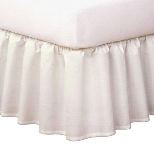 "Magic Skirt Ruffled Bedskirt, Never Lift Your Mattress, Classic 14"" drop length, Gathered Ruffle Styling, Full, Ivory"