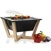 Designer Grill schwarz kleiner Stylegrill Camping Garten Balkon Picknick ✔ eckig ✔ tragbar ✔ Grillen mit Holzkohle ✔ für den Tisch