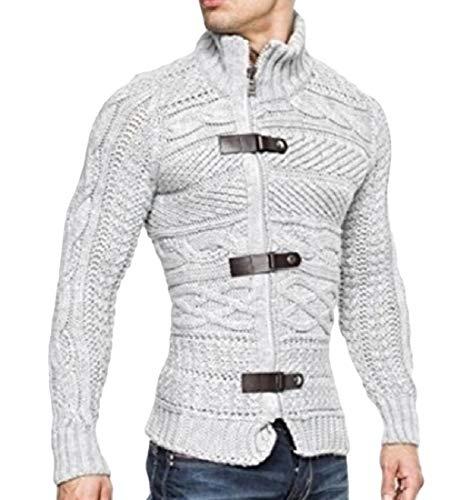RDHOPE-Men Comfy Mock Neck Stitch Knit Jumper Cable Knit Pullover Sweater Grey L ()