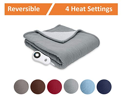 Serta | Reversible Sherpa/Fleece Heated Electric Throw Blanket Standard, ((Gray)