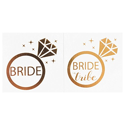 Bachelorette Party Temporary Tattoos, 12-Pack Bride & Bride Tribe Long-Lasting Metallic Gold for Wedding Ideas, Bridal Shower Decorations, Bridal Shower Party Supplies, 2 X 2 inches (Ring) ...