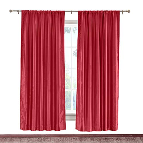 cololeaf Vintage Textured Faux Dupioni Silk Curtain Rod Pocket for Traverse Rod Or Track, Living Room Bedroom Meetingroom Club Theater Patio Door,Red 100W x 84L Inch (1 panel) (Silk Drapes Striped Dupioni)