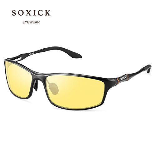 SOXICK Night Driving Glasses Polarized Safe Anti Glare Night Vision Glasses for Driving HD Yellow Lens by YIJIUERBA (Image #1)
