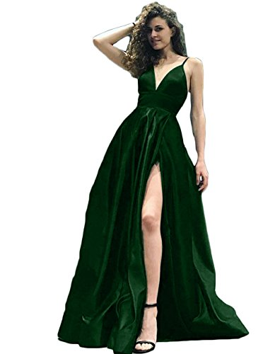 1fcc15d62e790 ... Backless Formal Party Dress Sexy Spit Side Prom Dress Emerald Green  Size 20. ; 