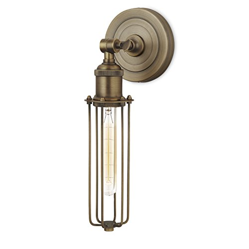 Bronze Wall Sconce Light Fixture - Cage Lamp with Edison Style Vintage Bulb, Dimmable, Brooklyn Bulb Co. Clifton Design, ETL - Vanity 5l Wall Sconces