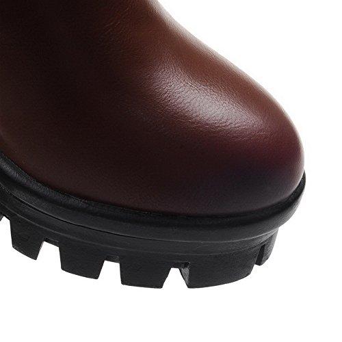 AllhqFashion Damen Überknie Hohe Stiefel Blend-Materialien Hoher Absatz Rund Zehe Stiefel Braun