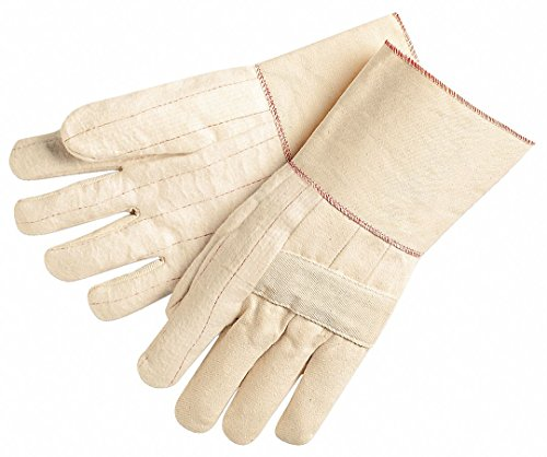 MCR Safety 9124G Hot Mills Cotton Regular Weight Men's Gloves with Knuckle Strap and Plasticized Gauntlet, White, Large, 1-Pair Hot Mill Knuckle Strap