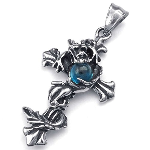 ANAZOZ Fashion Jewelry Stainless Steel Men's Pendant Necklace Chians Dragon Cross Crystal Silver Blue 18-26 Inch ()
