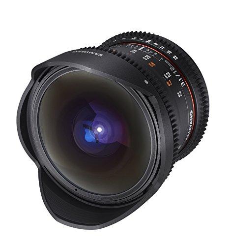 Samyang VDSLR II 12 mm T3.1 Lente de ojo de pez ultra ancho Cine para cámaras de lentes intercambiables con montura E de Sony (NEX) - Compatible con fotograma completo