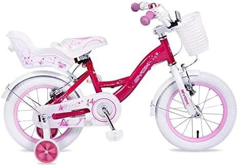 Byox Bicicleta Infantil 14 Pulgadas Flor Rosa Ruedas de Apoyo ...