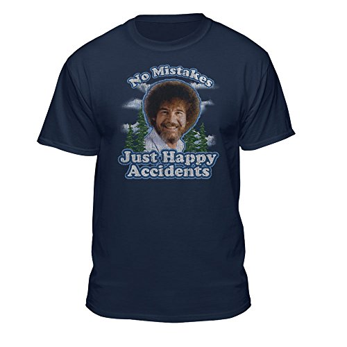 Bob Ross Graphic T-Shirt for Men and Women - No Mistakes, Just Happy Accidents - Short Sleeve (Large, Blue)