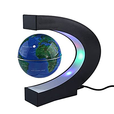Megadream Magnetic Levitation Floating World Map Globe 3 inch with LED Lights & C Shape Base for Learning Education Home Office Desk Decoration – Blue: Office Products