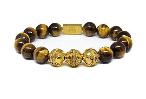 Tiger's Eye and Gold Vermeil Bracelet, Men's Tiger's Eye and 22 Karat Gold Vermeil Bali Beads Bracelet, Premium Quality Bracelet by Kartini Studio