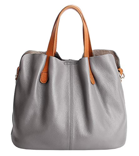 Molodo Womens Satchel Hobo Top Handle Tote Geuine Leather Handbag Shoulder Purse,Grey,Large