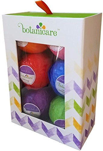 Bath Bombs Gift Set by Botanicare - Luxury Bath Fizzies, Vegan, All Natural, Made with Essential Oils, Lavender, Peppermint, Vanilla, Rose, Grapefruit, Lime (Valentines Bath Salts compare prices)