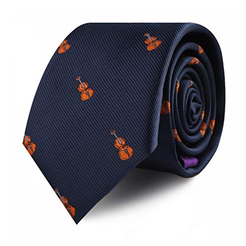 Violin Musician Violinist Orchestra Ties for Him | Gift for Men | Music Band Orchestra Skinny Neckties | Present for Work Colleague | Bday Gift for Guys (Violin)
