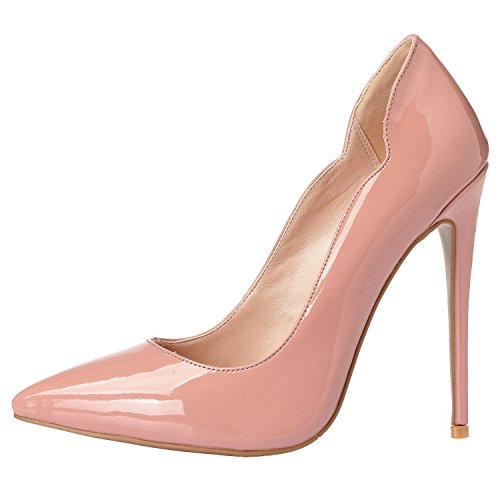 Stilettos Luxury Leather High ZAPROMA Heels Pink Pumps Point Patent Shoes Sexy Comfortable Toe Women's Zabsolute Beige S17qE7v