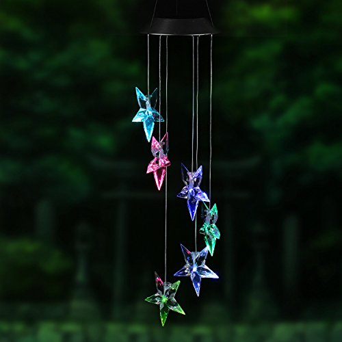 Changing Color Star Wind Chime, AceList Spiral Spinner Windchime Portable Outdoor Decorative Romantic Windbell Light for Patio, Deck, Yard, Garden, Home, Pathway