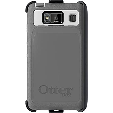 Hard Plastic Snap on Cover Fits Motorola XT926 Motorola Droid Razr HD Grey/White Otterbox Defender Case with Polycarbonate Outer Shell and Durable Silicone Skin with (Droid Razr Otterbox Case)