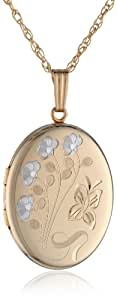 """14k Yellow Gold-Filled Engraved Oval Locket, 20"""""""