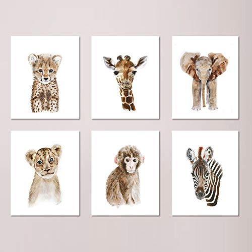 Safari Nursery Print Set of 6 Prints, African Baby Animal Watercolors: Lion, Giraffe, Elephant, Zebra, Monkey, Cheetah - Selection of Alternate Animals and Sizes available ()