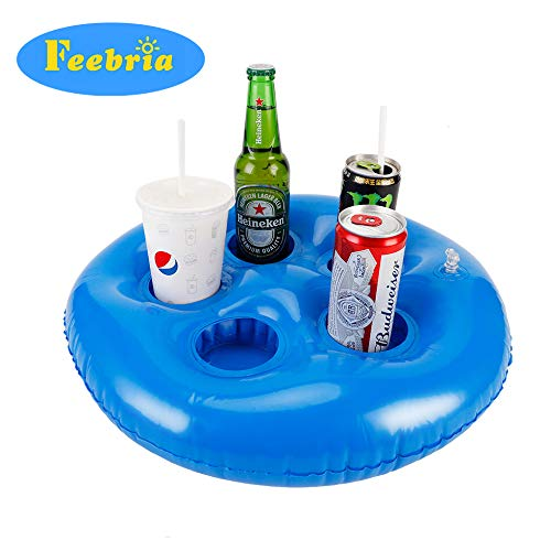 FEEBRIA Inflatable Blue Drink Holders for Pool, Hot Tub, Ocean & River, Cupholder Floaties to Float Your Beverages for Parties & Beach - Tumbler Tahiti Beverage