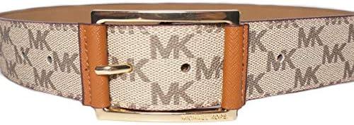 Michael Kors Women`s Black Synthetic Leather Mk Design Square Buckle Fashion Belt