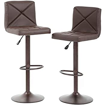 Amazon Com Superjare Set Of 2 Bar Stools Swivel Barstool Chairs With Back Modern Pub Kitchen Counter Height Retro Brown Kitchen Amp Dining