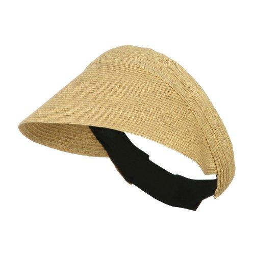 Solid Toyo Paper Braid Adjustable Visor - Wheat - Wide Hat Toyo Braid