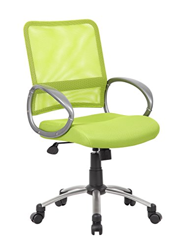 BOSS Office Products B6416-LG Mesh Back Task Chair with Pewter Finish in Lime Green by BOSS