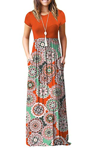 AUSELILY Women Short Sleeve Loose Plain Casual Long Maxi Dresses with Pockets (M, Orange)