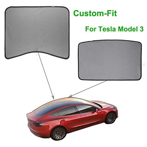 Model 3 Car Sunshade Sunroof Mesh Sunshade Rear Window Custom-Fit Glass Shade Foldable Roof Window Sun Shade Compatible for Tesla Model 3 (2PCS Middle Sunroof & Rear ()