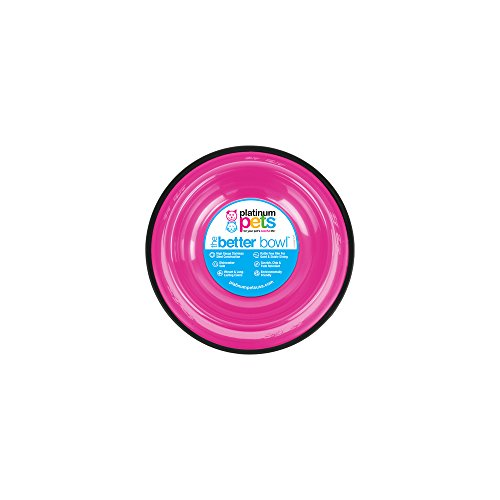 (Platinum Pets Non-Tip Stainless Steel Dog Bowl, 10 Oz, Bubble Gum Pink, Small)