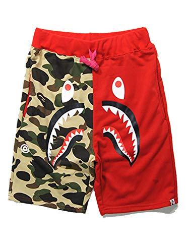 Athletic Pants Shark Pattern Hip hop Camouflage Stitching Shorts Men Drawstring Sports Shorts (red, m)]()