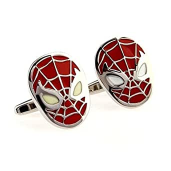 GNG Novelty Cufflinks French Shirt Cufflinks Spiderman Style Red+gift Bag