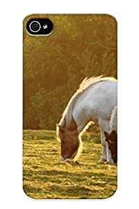 lintao diy Rugged Skin Case Cover For Iphone 4/4s- Eco-friendly Packaging(landscapes Nature Trees Animals Grass Horses Eating )