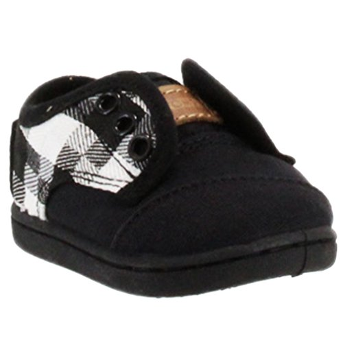 Toms Tiny Toddler Paseos in Black Grey Canvas 9