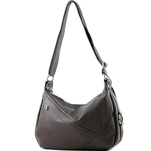 de T164 Dark Genuine Shoulder Shoulder bag ital bag Ladies Chocolate Leather bag leather bag modamoda pwCq7p