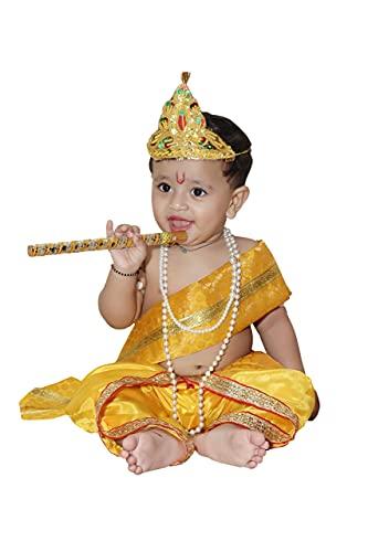 Raj Fancy Dresses Baby Krishna Brocade Fabric Janmashtami Mythological Character Costume 7