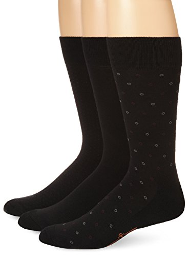 Dockers Men's 3-Pack Ultimate Fit-Elevated Dress Alternating Circles Crew Socks, Black, Shoe Size: 6-12 Size: 10-13