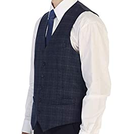 Gioberti Men's 5 Button Slim Fit Formal Herringbone Tweed Suit Vest
