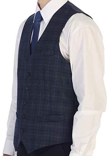 Gioberti Men's 5 Button Formal Tweed Suit Vest, Navy Graph, X Large
