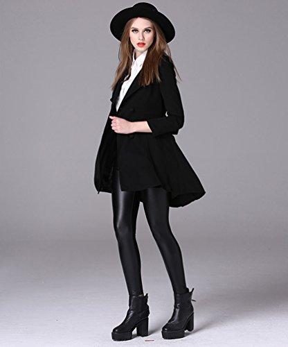 Baymate Mujer Elegante Chaqueta De Solapa Abrigo Trench Manga Larga Cazadora Con Cinturón Negro